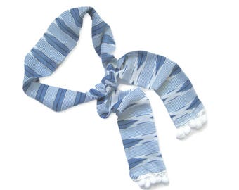 Pom Pom Scarf, Skinny Scarf, Striped Scarf, Blue and White Scarf, Purse Scarf, Hat Scarf, Girlfriend Gift, Sash, Tassel Scarf, Ready to Ship