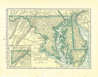 1923 Atlas of the World Vintage Map Pages (Maine map on one side and Maryland and Delaware map on the other side