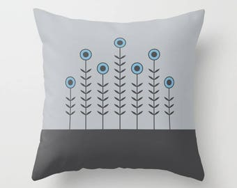 5 options, SPRING SHOOTS Minimalist Flowers Pillow, Gray, Charcoal black, Dusk Blue, Nordic style, Faux Down Insert, Indoor or Outdoor cover