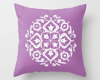 36 colours, Radiant Orchid, Persian Glaze Pillow, Folk Motif, Flower Pattern, Purple pillow, Faux Down Insert, Indoor or Outdoor options