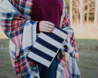 Wool Felt Bag Foldover Clutch Purse Color Block Bag Navy Chevron Canvas Bag  Gray Evening Bag Woodland Fabric Purse Gift for Women