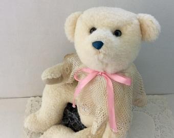 Handmade Teddy Bear - stuffed bear toy - Collectible Bear - Creamy white jointed teddy - Merry Christmas - Plush - Bear Decor -Nursery Decor