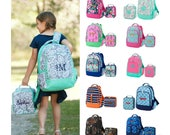 Monogrammed Matching Backpack & Lunchbox Set Girls Boys Kids Personalized Bookbag Lunch Bag Paisley Camo Floral Boho Navy Pink Mint Green