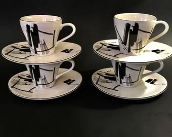 Larry Laslo Collection Calligraphy, tea coffee cups and saucers, set of 4, Sango Indonesia