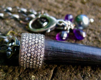 PREYASI  Ebony Tusk with Pave Diamond Cap, Amethyst, Tahitan Pearl on Adujstable Sterling Cable Chain