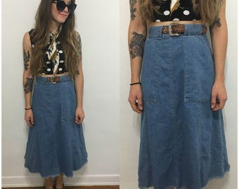 Vintage 70s Blue Jean Denim High Waisted Skirt Long Midi Size XS Small