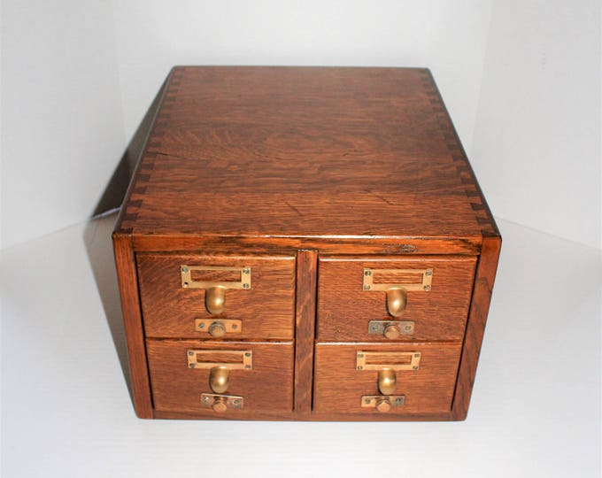 Vintage Gaylord Oak Card File Cabinet 4 Drawer