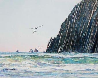 Watercolor ORIGINAL - Neahkahnie Arch - Oregon Coast, Manzanita, seascape, ocean, souvenir, vacation, sunset