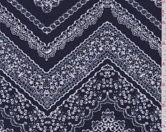 Navy/White Lace Zig Zag Print Jersey Knit, Fabric By The Yard