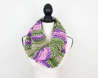 Purple Striped Cowl Hand Knit Scarf