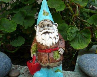 "Gnome Statue, Garden Gnomes, Concrete Cement Garden Art, 7"" x  3.5"" Colorful Gnome Statue, Upcycle Gnome Garden Decor, Shipped on one day."