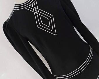 SALE :)) LOUIS FERAUD . Art Deco Mod . Fabulous Black White Piping Elements Dress 70s Xs