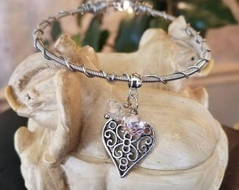 Guitar String Bracelet with Cut Out Heart & Crystals