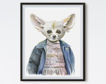 Eleven Fox - Fennec Fox Art - Eleven Print - Stranger Things - Hipster Animals - Animal Art - Art Prints - Eleven Stranger Things - Painting