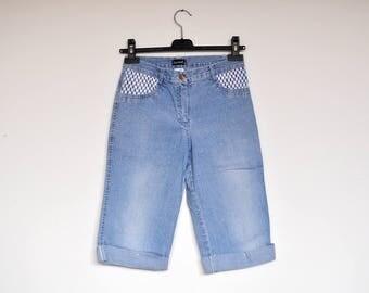 Vintage Light Blue Stretchy Denim High Waist Long Shorts