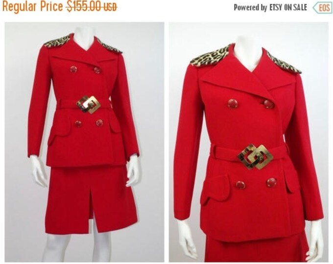 SUMMER SALE Vintage 1970's Red Wool Skirt Suit with Animal Print Collar // Fire Engine Red Skirt Suit with Fur Trim // 70's Red Wool Gabardi