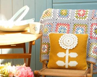 Pillow Crochet Pattern, Crochet Cushion, Patterns for Crochet, Double Knit, Mustard Pillow, Intarsia, Flower Cushion, Patterns Crochet