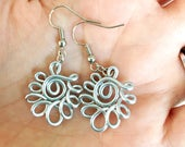 RESERVED for Jackie: silver fan earrings - special price