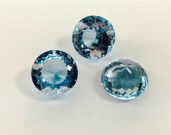 FINAL Sale 3  lab stones sky blue topaz 18 mm drilled top