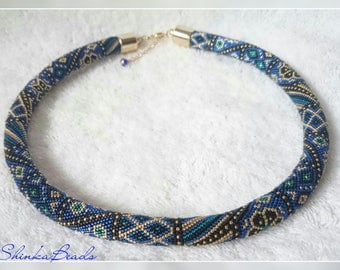 Royal blue patchwork ornamented bead crochet necklace handmade jewelry