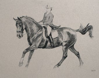 SALE Original horse art equine art energy and movement equine dressage charcoal movement art drawing 'Collected' by H Irvine