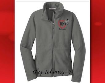 Nurse Jacket, Monogrammed RN Fleece Jacket, Embroidered Stethoscope, Full Zip Fleece Jacket, Personalized Jacket, Heart Stethoscope Monogram