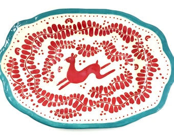 Handmade PLATTER with Leaping DEER Large - New Design - SGRAFFITO Carved -Turquoise & Red Trending Colors! Pottery Garden Carved