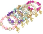 6 Unicorn Party Favor Small Beaded Charm Bracelets - Girls Pink, Purple, Blue, Gold, White and Hot Pink Bracelets - Unicorn Goodie Bag Gifts