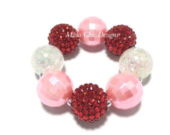 Toddler or Girls Valentine's Day Chunky Bracelet - Red, Pink and White chunky bracelet - Girls Love bracelet - Red Flower girl bracelet