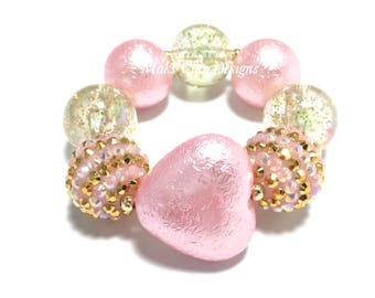 Toddler or Girls Gold and Pink Heart Chunky Bracelet - Princess Pink Chunky bracelet - Light Pink Heart Bracelet - Gold Glitter Bracelet