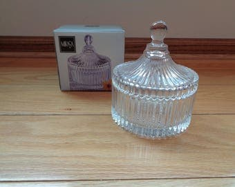 Vintage MIKASA GLASS Covered Canister in Mint Condition with Diamond Fire Pressed Pattern on the bottom canister and top lid, Made in Japan