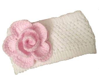 Knit Pink Flower Headband, Knit Rose Headwrap, Knitted Winter Earwarmer, Winter Earwarmers Headband, Flower Headband Ear Warmer, Valentine
