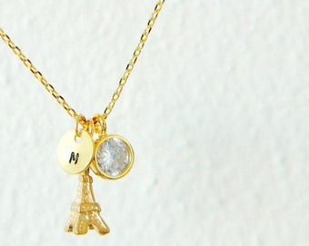 Gold Eiffel Tower Initial Personalized Cubic Zirconia Layering Charm Necklace