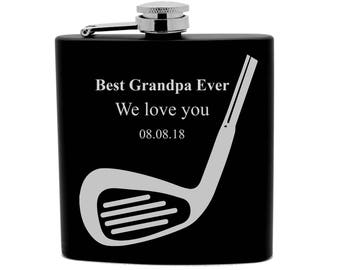 Personalized Flask Print 6oz Black Stainless Steel Golfer Gift, Birthday Gift,Sports Wedding favors 0013