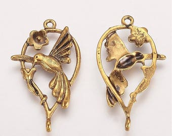 Antique Gold HUMMING BIRD Charms / Pendants - Lead Free and Cadmium Free
