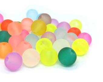 Assorted Color Frosted Glass Beads - 6mm in diameter