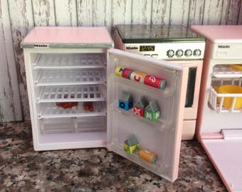 Dollhouse Miniature Shabby Chic Pink Genuine Miele Dishwasher with Sounds SO CUTE 1/12 Scale