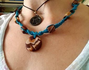 Teal Hemp Necklace with earthtone clay beads, handmade, hippie necklace, brown and blue