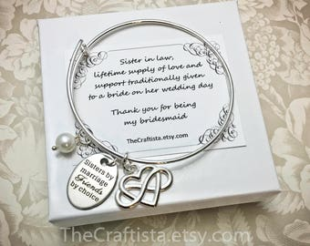 SLB, Sister of the Groom Bracelet, Sister-in-law Bangle, Maid of Honor Bangle, Sister of the Groom Gift, Bridesmaid Jewelry, Matron of Honor