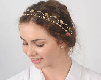 Gold and Pearl Hair Vine Wedding Crown Bridal Headpiece Hair Piece Headband Renaissance Crown Tiara Filigree Circlet Medieval Hair Jewelry