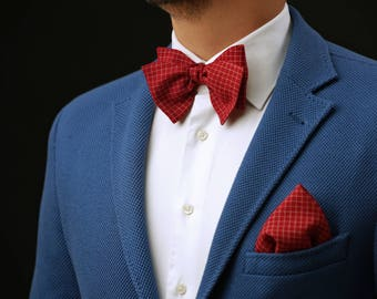 Red Bow Tie & Pocket Square Set