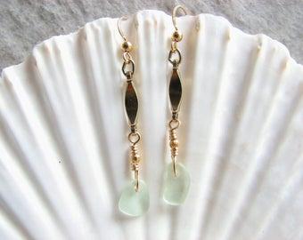 Sea Glass Jewelry, Long Gold Filled Earrings, Seafoam Green Beach Glass Earrings, Dangle Seaglass Earrings