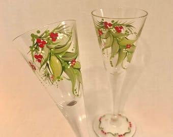 Free shipping Christmas Holiday hand painted pair of sherry liquor glasses