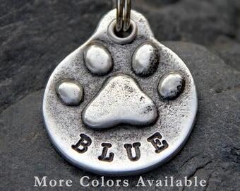 Dog ID Tag - Paw Print - Dog Name Tag - Pet Tag - Dog Tags for Dogs - Custom Dog Tag - Pet Tag Personalized - Pet ID Tag