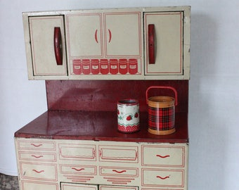 Vintage 1950u0027s Red And White Retro Wolverine Tin Toy Hoosier Cabinets W  Canisters