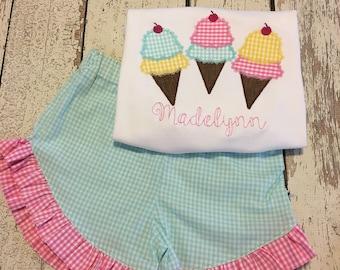 Ice cream outfit, ice cream birthday, ice cream shirt, ice cream party, ice cream shirt, ice cream outfit, girls summer shirt