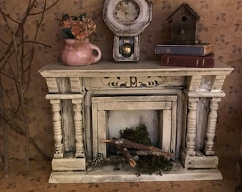 Beautiful dollhouse furniture mantle fireplace hand painted miniatures shabby chic