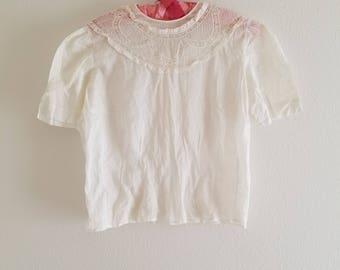 Vintage 1940's White Lace Blouse