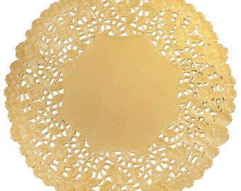 "170 - 12"" GOLD FOIL Paper Lace Doily  Parties Weddings, Wedding Decor, Bridal Shower, Baby Shower, Scrapbooking, 12""  Doilies, DIY Bride"