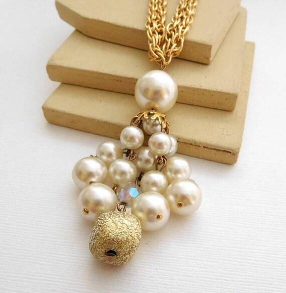 Vintage White Faux Pearl Gold Bead Tassel Pendant Aluminum Chain Necklace MM40